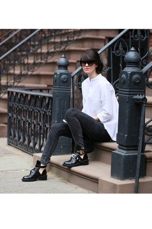 balenciaga boots - Guess jeans - Loft shirt