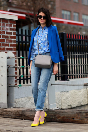 Aqua blazer - Gap shirt - Michael Kors bag - Gucci pumps