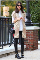 balenciaga boots - Jimmy Choo bag - Anthropologie cardigan - vince pants