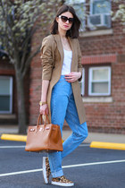 All Saints coat - American Apparel jeans - Hermes bag - Prada sunglasses