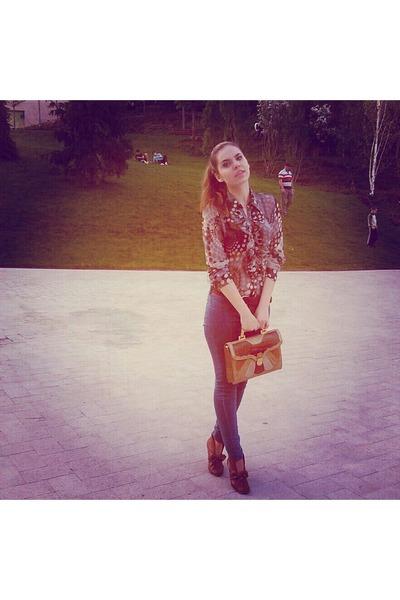 purse - boots - jeans - blouse