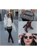 boots - jeans - purse - sunglasses