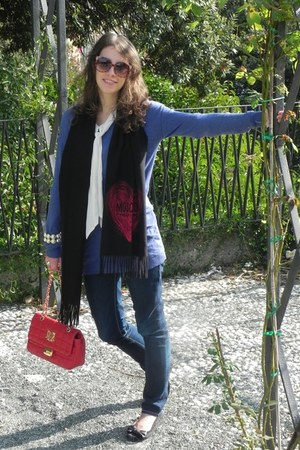 red Moschino bag - blue Fornarina jeans - black Moschino scarf - white hm blouse