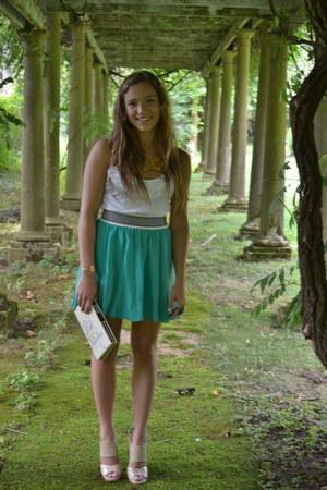 white Velvet shirt - light pink kate spade purse - turquoise blue Pencey skirt -