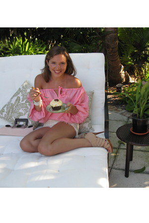 Trina Turk shirt - tweed Alexis shorts - suede stuart weitzman heels