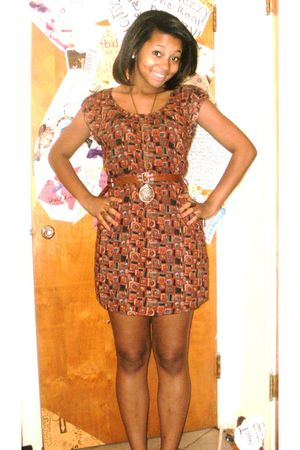 brown Forever 21 dress - gold