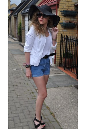 sunhat Acessorize hat - white white Zara blazer - denim From ages ago shorts - C