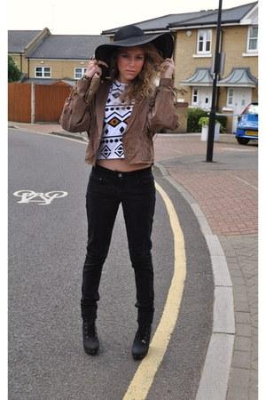 Accessorize hat - bronze suede vintage jacket - new look bag - triba pattern Top