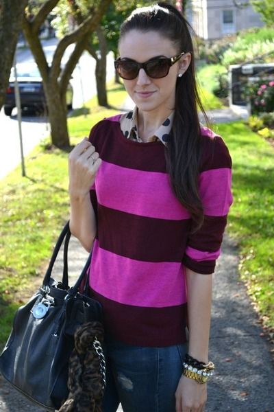 J Crew sweater - leather Michael Kors purse - chiffon TJ Maxx blouse