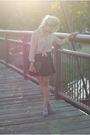 Beige-vintage-blouse-black-forever-21-skirt-blue-forever-21-shoes