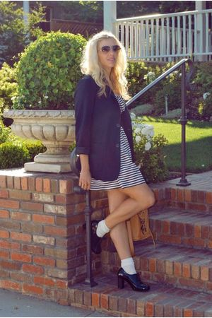 blue Forever 21 blazer - blue Forever 21 dress - black modcloth shoes