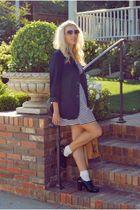 blue Forever 21 blazer - blue Forever 21 dress - black modcloth shoes