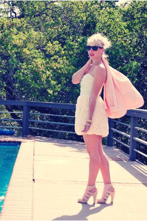 pink Forever 21 blazer - pink H&M shoes - white cream H&M dress