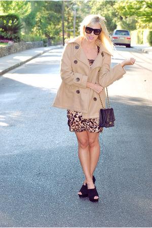 beige Forever 21 jacket - beige Arden B dress - black Aldo shoes