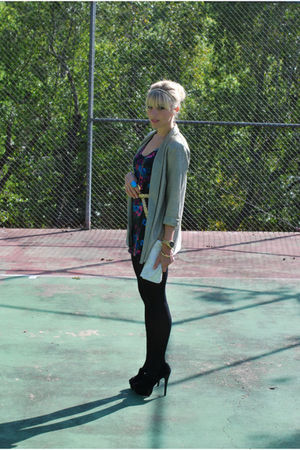 gold H&M blazer - black MinkPink dress - black Aldo shoes - white vintage access