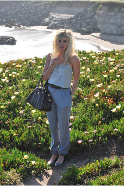 silver J Crew top - silver Uniqlo pants - brown Marc by Marc Jacobs accessories