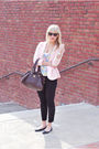 Pink-forever-21-blazer-black-jcrew-pants-black-urban-outfitters-shoes-brow