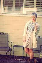 beige Jcrew skirt - gray Jcrew top - gold vintage belt - gray Jcrew socks - beig