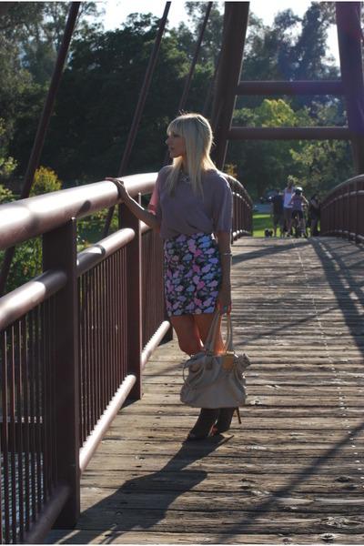 purple vintage top - beige dolve vita shoes - purple Forever 21 skirt