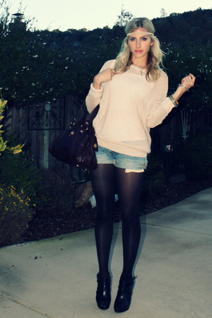 beige H&M sweater - black booties Aldo shoes