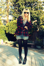 Red-vintage-blazer-gray-american-apparel-top-blue-vintage-levis-shorts-bla