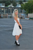 white Anthropologie dress - brown Ralph Lauren belt - black Forever 21 shoes