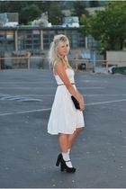 white Anthropologie dress - brown Ralph Lauren belt - black Forever 21 shoes