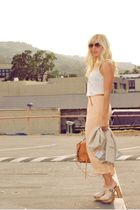beige peach vintage pants - white clogs Jeffrey Campbell shoes