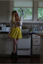 yellow Forever 21 skirt - beige silence and noise top - white American Apparel t