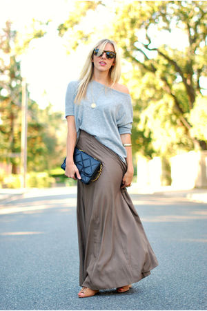 brown maxi Forever 21 skirt - silver sweater top Forever 21 top