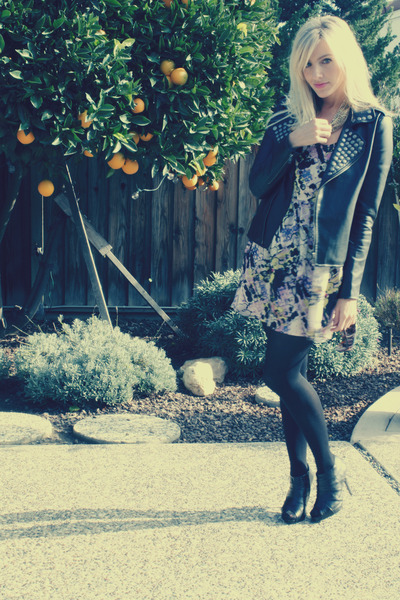 black Urban Outfitters jacket - purple Urban Outfitters dress - black Forever 21