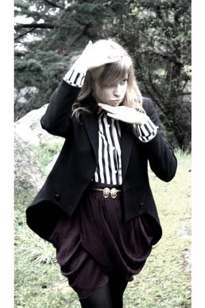 gold vintage belt - black Zara blazer - deep purple Forever21 skirt