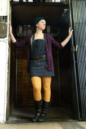yellow Dorothy Perkins tights - dark brown zahra boots - dark gray dress