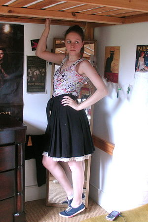 white H&M dress - black H&M skirt - blue shoes
