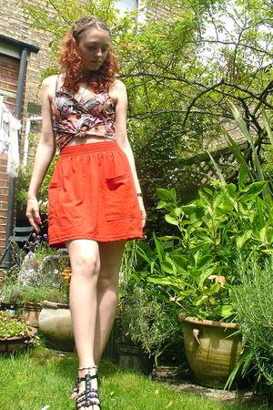 orange H&M top - orange American Apparel skirt - black ShoeZone shoes - brown ne