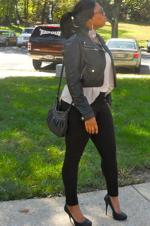 black leather jacket - shirt - black shoes pumps