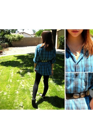 Levi Strauss shirt - forever 21 leggings - thrift belt - Art Show necklace - pay