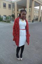 carrot orange bright H&M coat - white lacey peplum New Feeling dress
