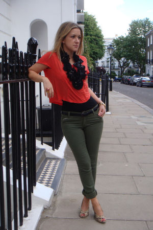 black All Saints belt - orange Topshop t-shirt - green CurrentElliot jeans - bla