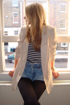 blue Levis Vintage Collection shorts - pink Zara blazer - white Topshop top