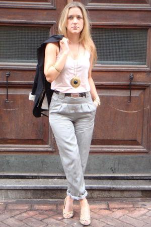 black Topshop blazer - pink Topshop vest - silver Topshop jeans