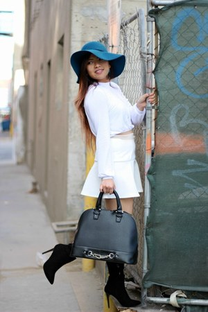 Forever 21 hat - Forever 21 boots - just fab bag - Nasty Gal skirt