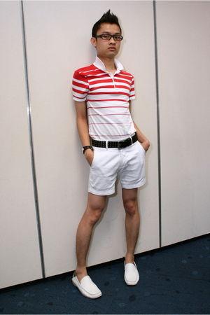 black Topman belt - white Topman shorts - white Topman t-shirt - white Pedro sho