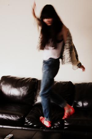 pink Topshop shoes - blue boyfriend Topshop Moto jeans - beige jacket