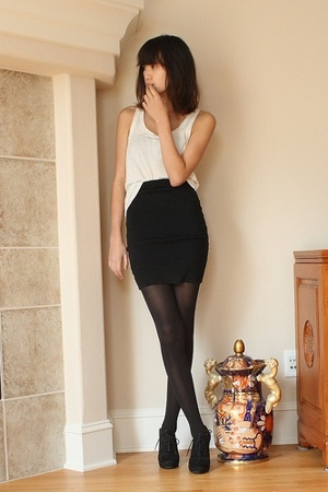 black American Apparel skirt - black Circa Joan & David shoes - white tank H&M