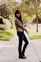 beige vintage jacket - black shoes - blue Genetic Denim jeans