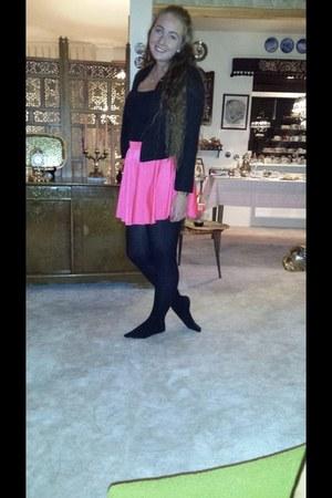 black patterned Zara blazer - hot pink disco American Apparel skirt