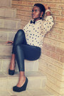 Leather-leggings-polka-dots-shirt-silk-tie-black-suede-wedges