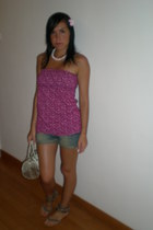 Bershka top - TO BE A PRINCESS shorts - NARAYA purse - shoes - necklace - access