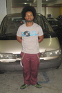Silver-old-navy-shirt-brown-accessories-red-dickies-pants-green-tuk-shoes